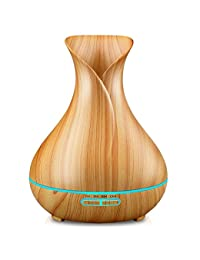 URPOWER Essential Oil Diffuser, 400ml Wood Grain Cool Mist Humidifiers Ultrasonic Aromatherapy Diffusers with 4 Timer Setting and High or Low Mist Output for Home Bedroom Baby Room Study Yoga (Light) BOBEBE Online Baby Store From New York to Miami and Los Angeles