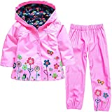Vovotrade Girls Boys Windbreaker Jacket Printed Raincoat Trench Coat+Pants Waterproof Suit(Pink,110)