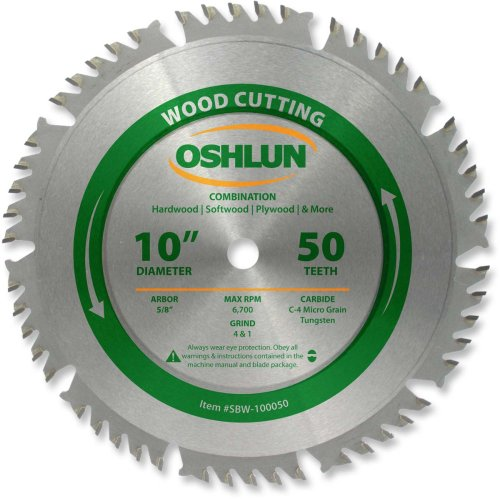 - Oshlun SBW-100050 10-Inch 50 Tooth 4 and 1 Combination Saw Blade with 5/8-Inch Arbor