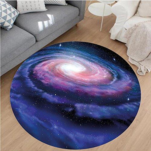 Nalahome Modern Flannel Microfiber Non-Slip Machine Washable Round Area Rug-Spiral Galaxy Andromeda Milky Way Cosmic Dust Infinity Glow Mystery Art Dark Blue Purple area rugs Home Decor-Round 28