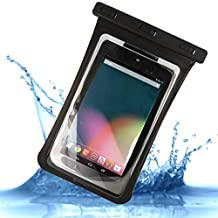 """Universal Waterproof Sandproof Carrying Bag Case Pouch for 7"""" Tablet - iPad Mini, Galaxy Tab 3 and more - Certified to 100 Feet"""