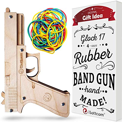 Rubber Band Gun - Toy Gun Glock by iSottcom - Boys Toys for Outdoor Indoor Game - Wooden Toy Guns - Best Gift for Men - Wooden Pistol for Shooting Game - Kids Toys for Pretend Play - Gag Gift