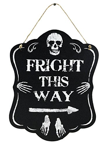 Fright This Way Black & White Wood Halloween Wall (Spooky Halloween Signs)