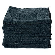 """Real Clean Black Microfiber Towels 10 Pack 16"""" X 16"""""""