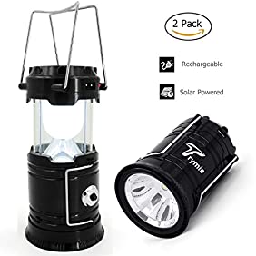 Trymie 2 Pack 2-in-1 Rechargeable Camping Lantern Solar Flashlight with USB Power Bank for Hiking Camping Blackouts