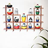 ExclusiveLane 16 Terracotta Warli Handpainted Pots With Sheesham Wooden Frame Wall Hanging -Indian Decorative Items For Home Gift Item Wooden Wall Art Decor Decorative Shelves Vases Home Decor