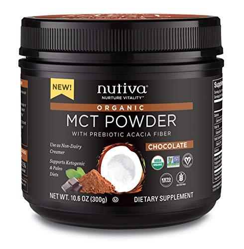 Nutiva USDA Certified Organic Chocolate MCT Powder with Prebiotic Acacia Fiber, Caprylic and Capric Acids from non-GMO, USDA Certified Organic Fresh Coconuts, 10.6-ounce