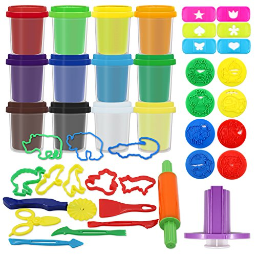 sysrion-fun-tub-super-molding-mania-dough-play-kit-includes-clay-tools-animal-molds-stamps-cutting-t