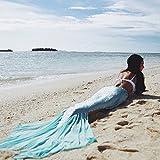 MZPRIDE Mermaid Tail Skirt Blue Swimwear Mermaid Beach Dress Girls Mermaid -Dress