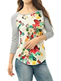 Allegra K Women Floral Prints 3/4 Raglan Sleeves Tee Shirt M White