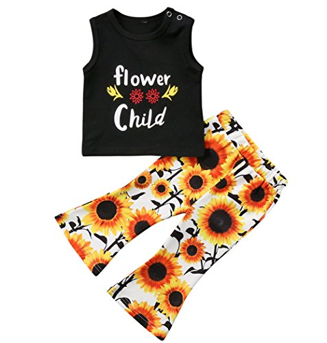 Best-selling Younger star Toddler Baby Girl Clothes Flower Child -Shirt Tops + Sunflower Leggings Pants Outfit