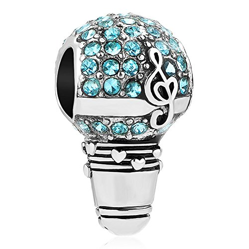 (Q&Locket Love Music Notes Charms Dangle Spacer Charm Beads For Bracelet (Blue Music Microphone))