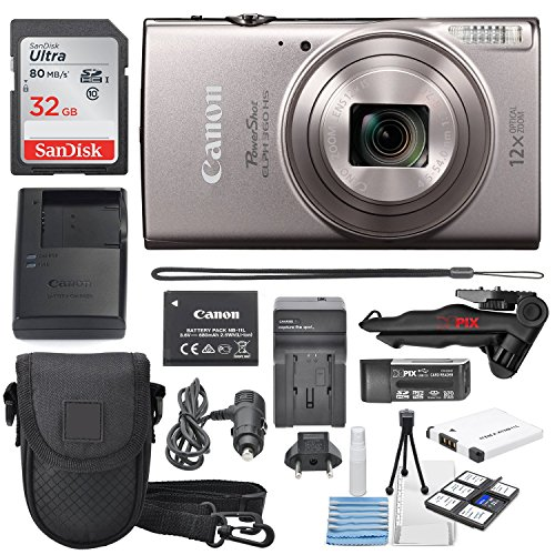 Canon PowerShot ELPH 360 HS(Silver)with 12x Optical Zoom & Built-In Wi-Fi with Deluxe Starter Kit 32GB SDHC +Flexible Tripod + AC/DC Turbo Travel Charger + Extra battery + Protective Camera Case (Best Canon Elph Camera Reviews)
