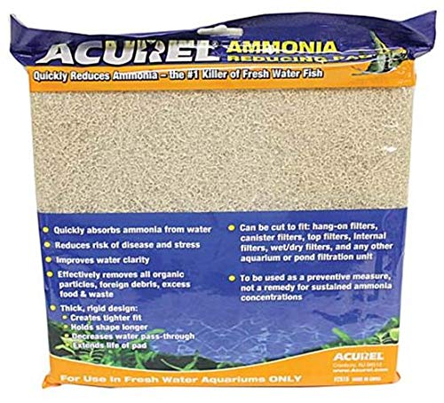 Acurel LLC Ammonia Reducing Media Pad Aquarium and Pond Filter Accessory, 10-Inch by 18-Inch