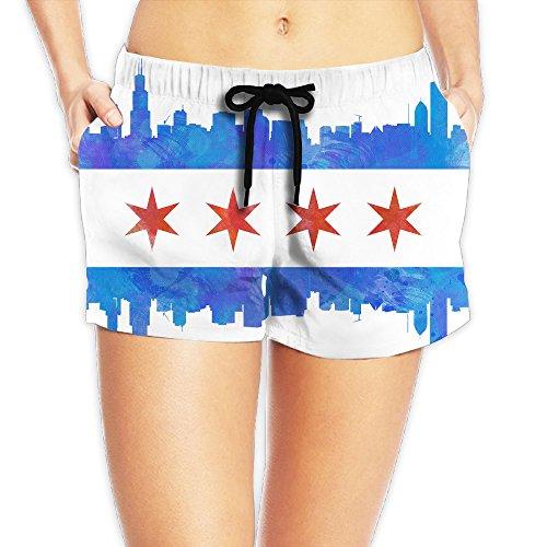 Chicago State Flag Retro Women's Summer Quick Drying Beach Shorts Short - Chicago Shorts Flag