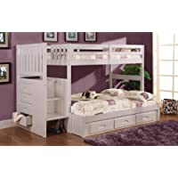 Twin Over Full Stair Stepper Bed with Trundle, Desk, Hutch, Chair and 5 Drawer Chest in White Finish
