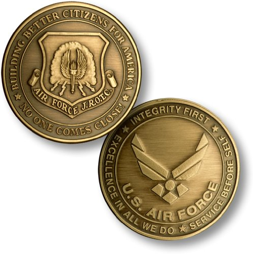 - JROTC New Air Force Emblem Bronze Antique Challenge Coin