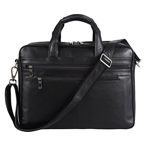 Polare Real Soft Nappa Leather 17 Laptop Case Professional Briefcase Business Bag For Men (Black) by Polare (Image #7)