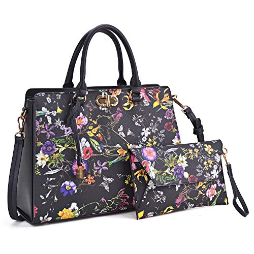 MMK collection Fashion Women Purses and Handbags Ladies Designer Satchel Handbag Tote Bag Shoulder Bags with coin purse (XL-23-7581-Black flower)