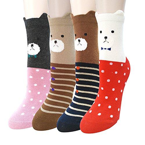 Sweet Animal Design Women's Casual Comfortable Cotton Crew Socks