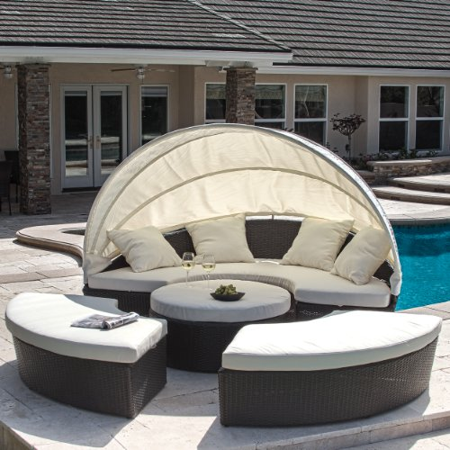 Outdoor Cabana Furniture - Bellagio 4-piece Outdoor Daybed Sectional Set