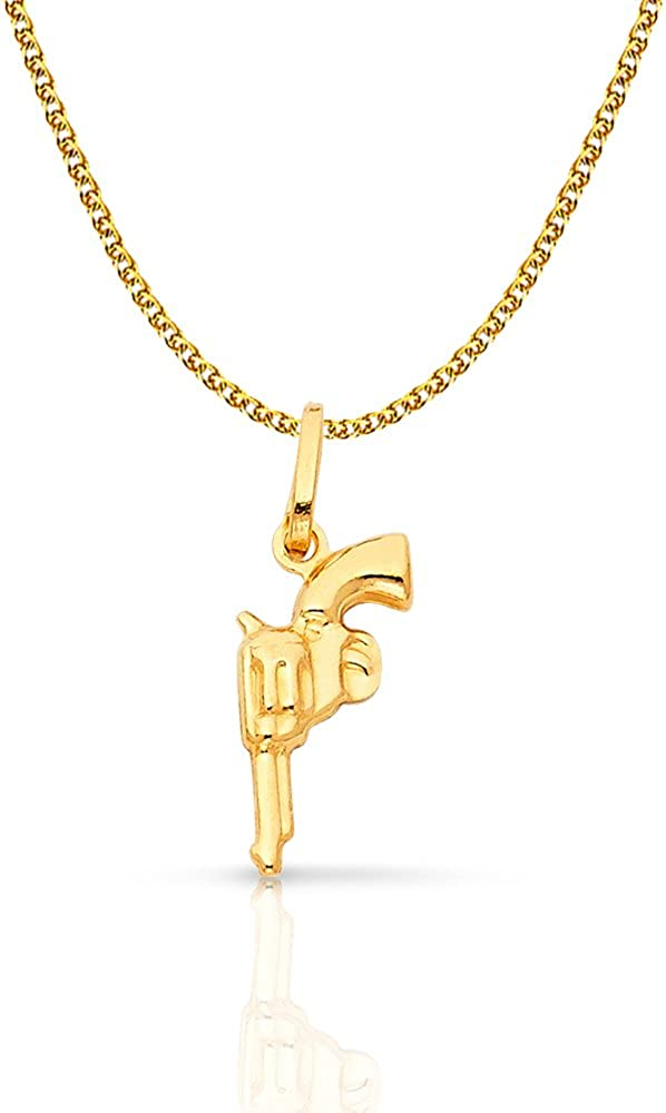 14K Yellow Gold Revolver Handgun Charm Pendant with 1.5mm Flat Open Wheat Chain Necklace