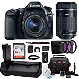 Canon EOS 80D DSLR Camera with EF-S 18-55mm f/3.5-5.6 is STM + EF-S 55-250mm f/4-5.6 is STM Lens + 64GB SD Card + Battery Grip Advanced Photo & Travel Bundle