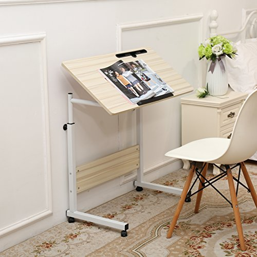 Unicoo-Height Adjustable Laptop Cart, Computer tabel, Student Study Table, Drafting Drawing Table Overbed Table Over Sofa Table(White