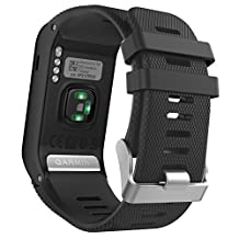 Garmin Vivoactive HR Watch Band, MoKo Soft Silicone Replacement Watch Band ONLY for Garmin Vivoactive HR Sports GPS Smart Watch with Adapter Tools - BLACK