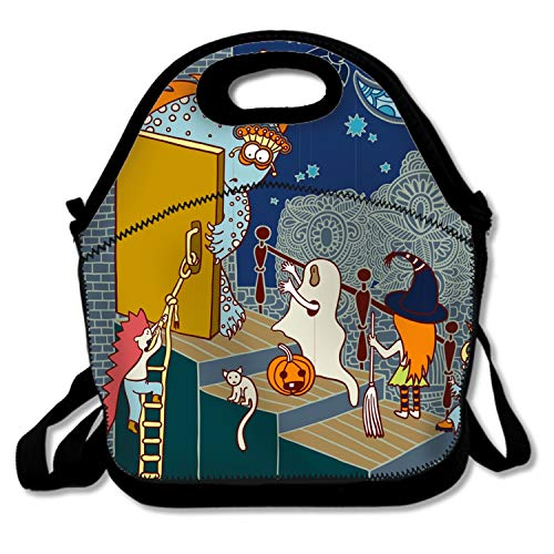 Halloween Doodle Lunch Tote for Kids Black Lunch Box Lunch Pail -