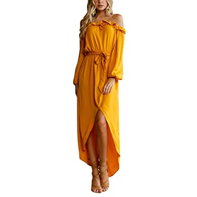 fa1c407750e4 Lothver Sexy Woman Bright Yellow Tube Maxi Dress Off-Shoulder Elastic Waist  Gown Lotus Leaf