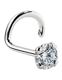 VS1- 3mm (.10 ct. tw) Diamond 14K White Gold Nose Ring Twist Screw - 20G