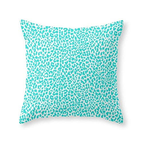 (Square Cotton Throw Pillow Case Decorative Cushion Cover Pillowcase Cushion Case for Sofa,Bed,Chair - Turquoise Leopard)