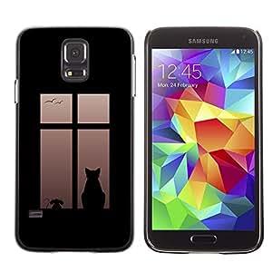 Be Good Phone Accessory // Dura Cáscara cubierta Protectora Caso Carcasa Funda de Protección para Samsung Galaxy S5 SM-G900 // Cat On Window