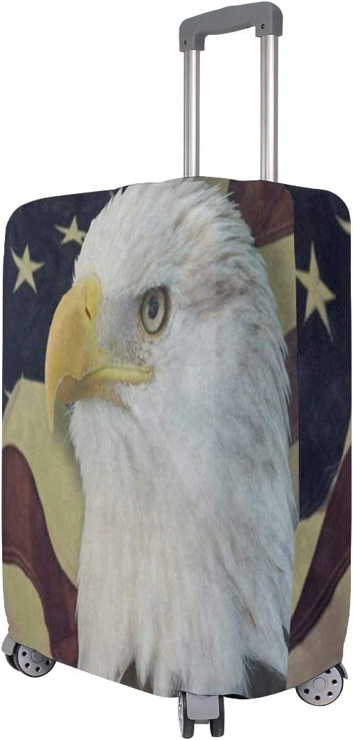 Travel Luggage Cover Bald Eagle American Flag Suitcase Protector