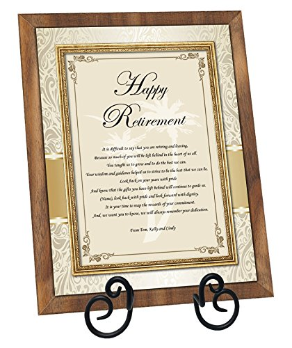 Employee Coworker Boss Colleague Retirement Plaque Walnut Personalized Poem Congratulation Best Wishes Plaque with Table Easel (Regular - Personalized Poem Plaque