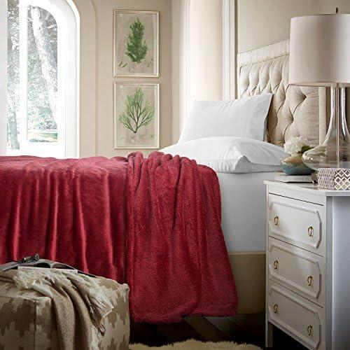 "Flannel Fleece Luxury Blanket Red Queen(90""x90"") Size Lightweight Cozy Plush Microfiber Solid Blanket by way of Bedsure"