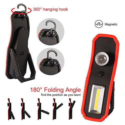 LED Work Light Handheld Flashlight LED Torches Lamp COB Cordless Inspection Lamp With Hanging Hook, Magnetic Base for Car and Truck Repair,Home Using,Outdoor Camping Hiking