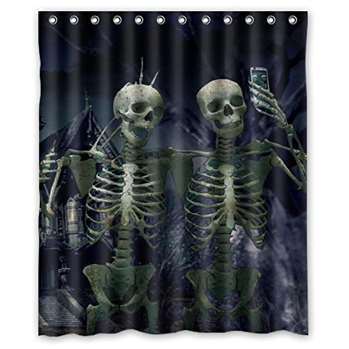 Customs Halloween Scary (Custom Scary Skulls Horrible Halloween Gift Polyester Shower Curtain 60