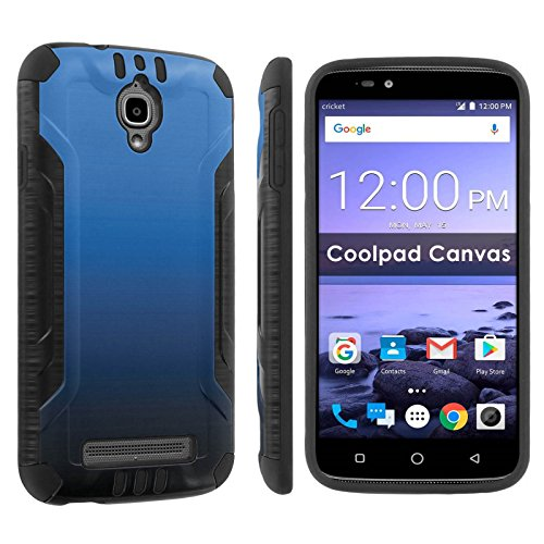 [POPCulture] Armor Case For [Cricket] Coolpad Canvas 3636A [Black/Black] Shock Absorbent Hybrid Case - [Gradient-Blue Black] Print Design
