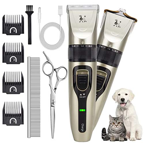 Dog Grooming Clippers, DUU Pet Hair Clippers with 2 Types Blade, Cordless Hair Grooming Kit with 4 Comb Guides & Extra Tools, Professional Quiet Dog Shaver Trimmer for Dogs, Cats, Rabbits & Other Pets