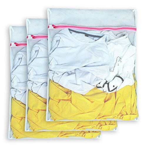 (AimtoHome Set of 3 Mesh Laundry Bags - 3 Large - Premium Quality: Laundry Bag for Blouse, Hosiery, Underwear, Bra and Baby Clothing, Travel Laundry Bag)