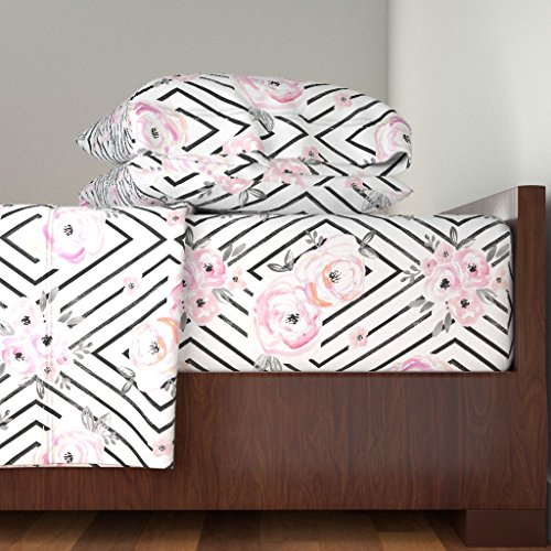 Roostery Floral 4pc Sheet Set Pastel Black and White Mod Baby Girl by Crystal Walen 100% Cotton Sateen Queen Sheet Set