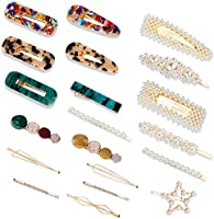 20PCS Hair Clips,YOUYOUTE Sweet Artificial Large Pearls Hair Clips Fashion Korean Style Acrylic Resin Hair Barrettes...