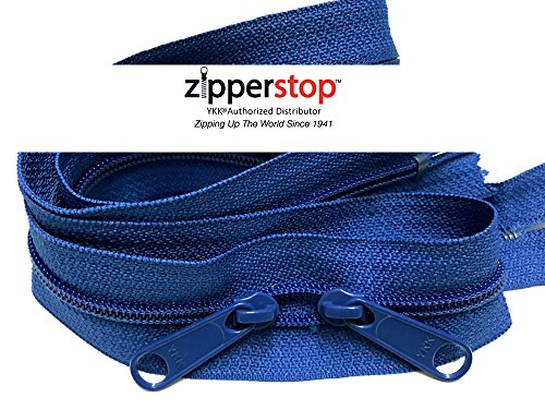 Zipperstop wholesale - Double Slide Zipper YKK #4.5 Coil with Two Long Pull Head to Head closed ended on both sides Made in USA (40 Inch, Royal Blue)