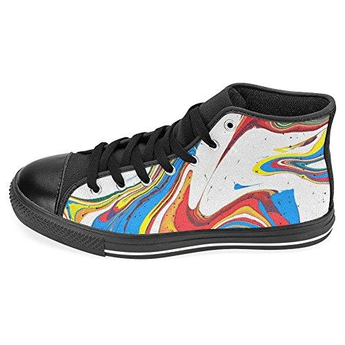 Interestprint Femmes Toile Chaussures Haut Haut Formateurs Chaussures Plates Lace Up Sneakers Mode Forme Abstrait Coloré Arc-en-ciel Noir
