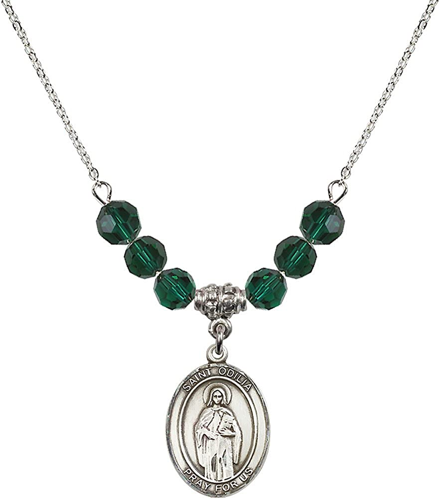 18-Inch Rhodium Plated Necklace with 6mm Emerald Birthstone Beads and Sterling Silver Saint Odilia Charm.