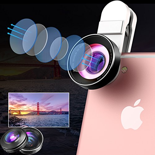 Portable iPhone Camera Lens 3-in-1 Kit Pro - 15X Macro Lens, 0.6X Wide Angle Lens, 180° Fisheye Clip-On Universal CellPhone Camera Lenses for iPhone, Android, Samsung Mobile Phones and Tablets (Black) by Ainope