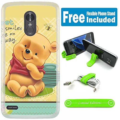 [Ashley Cases] for LG [K30] [K10 2018] [Phoenix Plus] [Premier Pro LTE] [Harmony 2] Cover Case Skin with Flexible Phone Stand - Winnie The Pooh Baby Checker