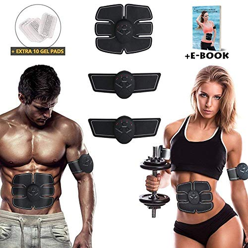 Eon Concepts Muscle Trainer Ultimate Abs Stimulator with 10 Extra Gel Pads & E-Book   EMS Abdominal Toning Belt for Men & Women   Arm & Leg Trainer   Portable Office, Home & Gym Fitness Equipments